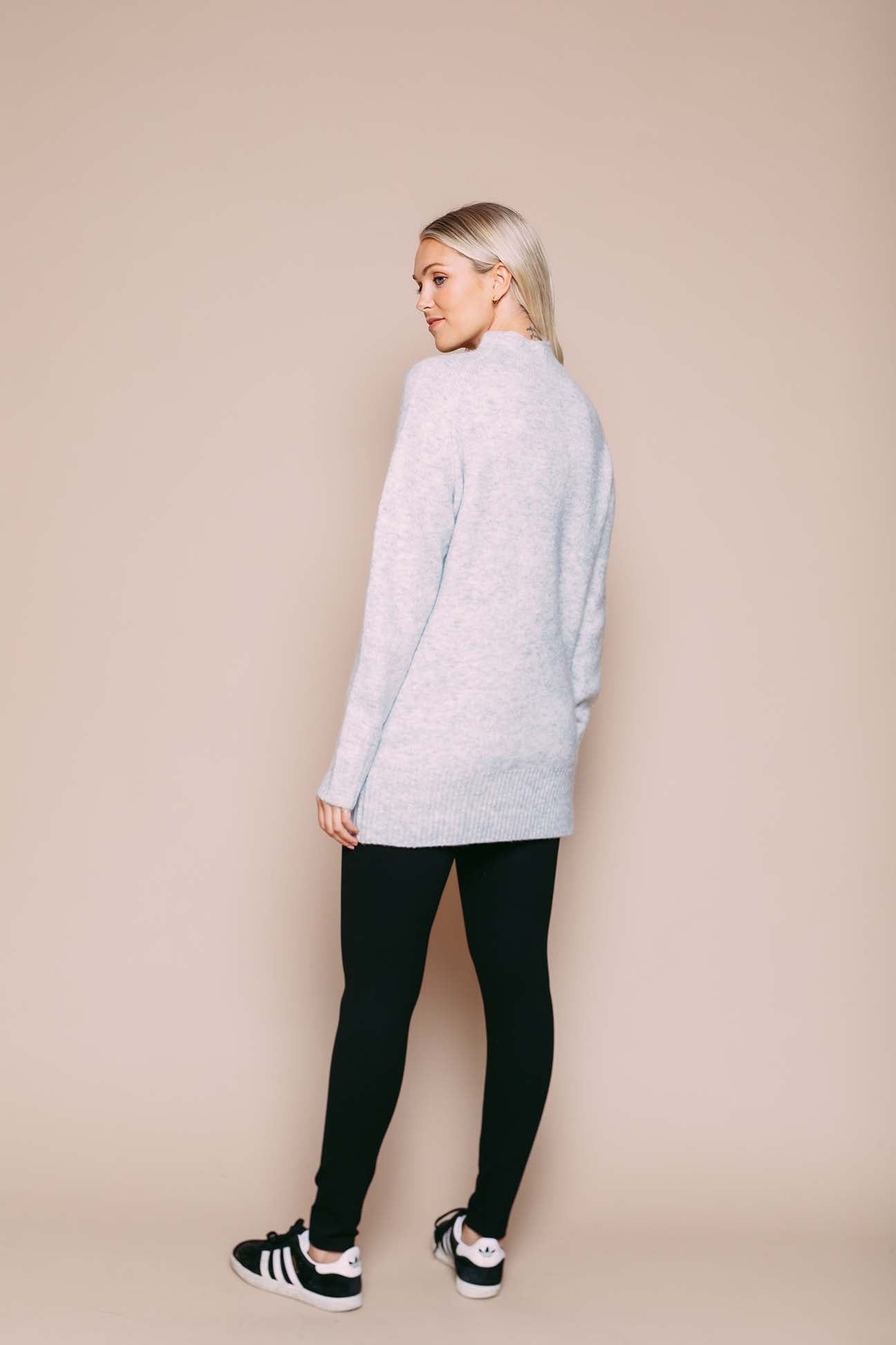 Athena - Funnel Neck Sweater Light Grey Heather
