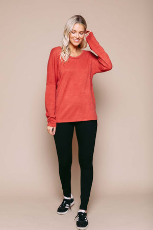 Lilliana - Split Hem Knit Tunic Terra Cotta