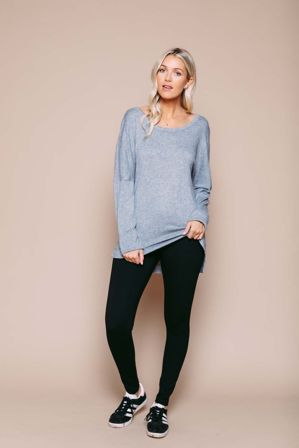 Lilliana - Split Hem Knit Tunic Grey Heather