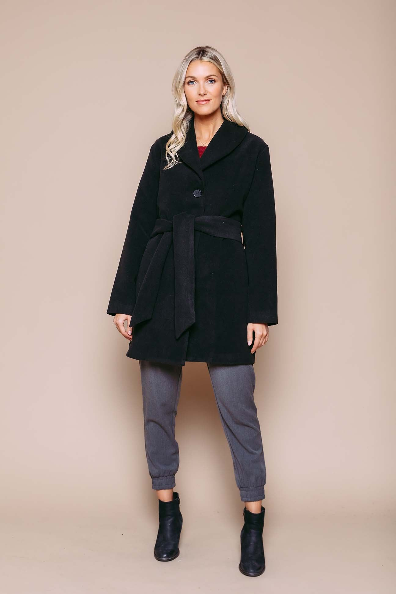 Sandra - Shawl Collar Coat Black