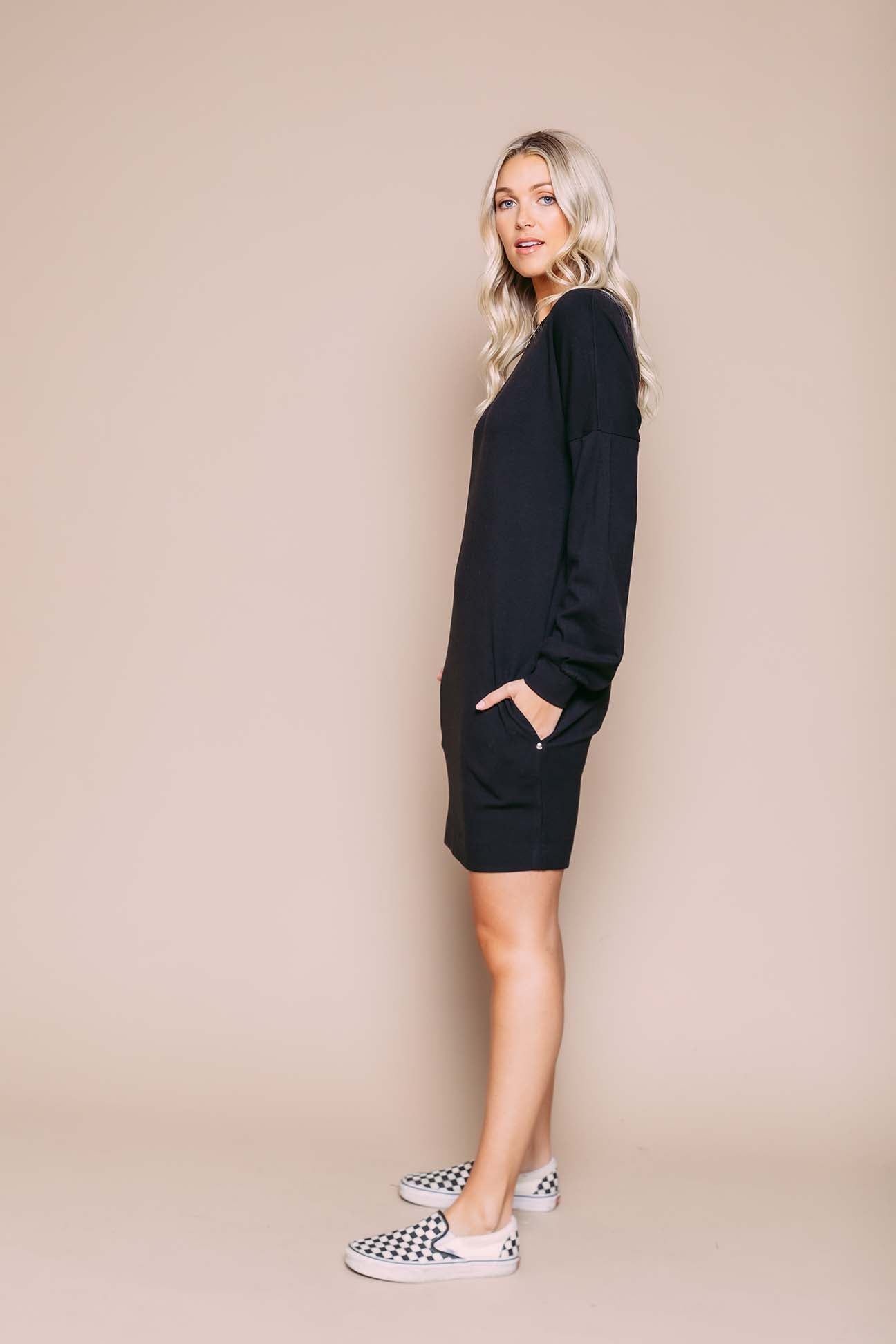 Kim - Sweatshirt Dress With Sleeve Detail Black