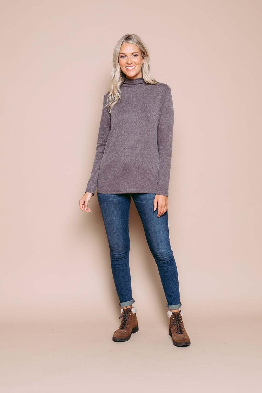 Stephie - Reversible Mock Neck Tunic Coffee