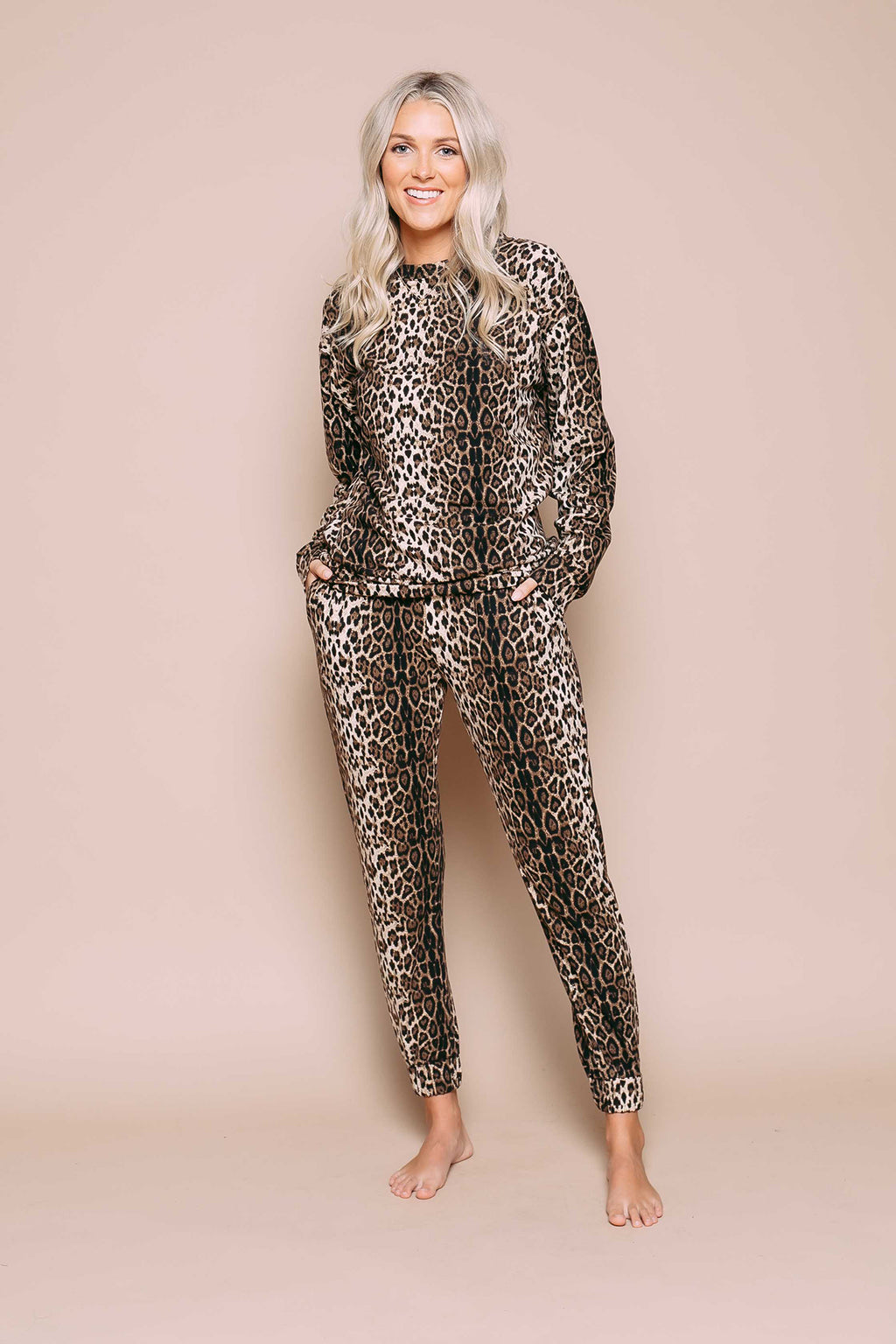 Jenna - Supersoft Knit Crew Leopard