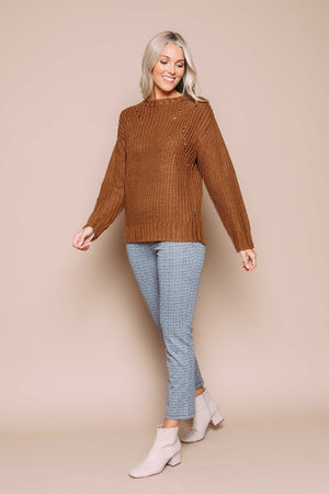 June - Pointelle Pullover Caramel