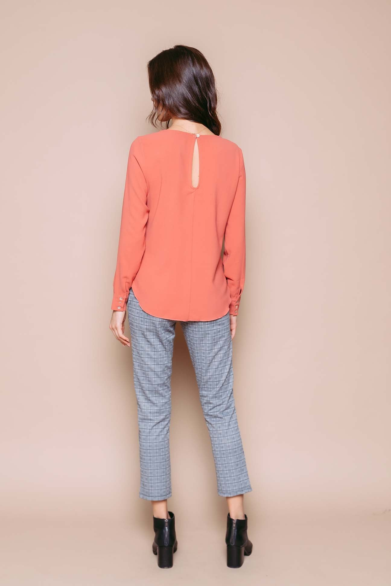 Laurie - Long Sleeve Woven Blouse Terra Cotta