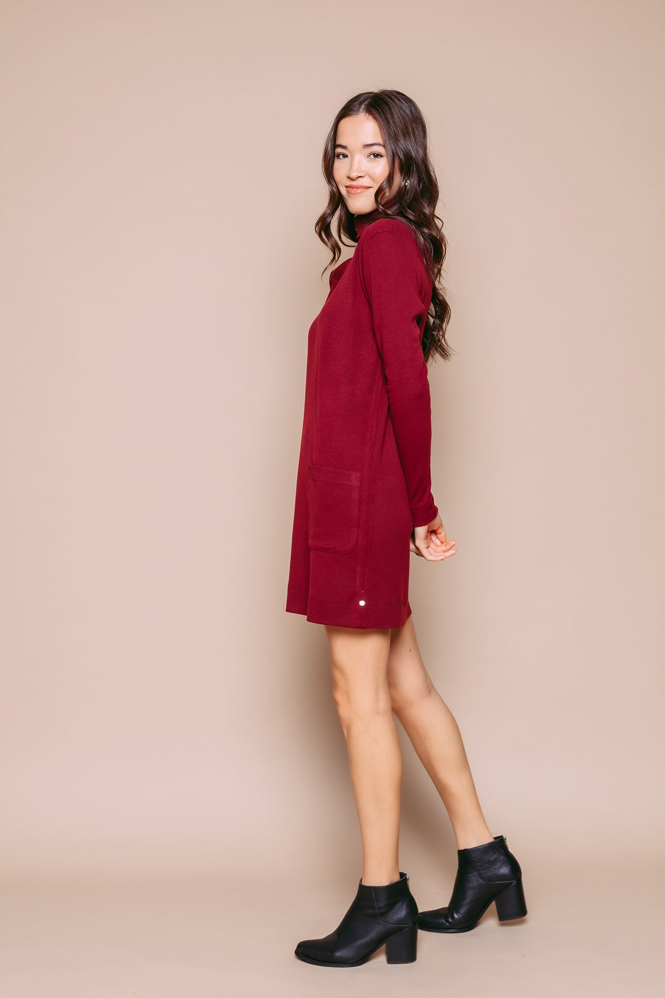 Sylvie - Turtleneck Dress Merlot