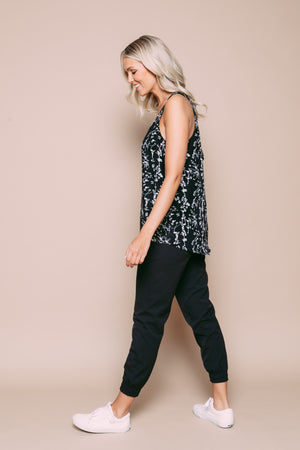 Maddie - Zip Back Cami Black Vines