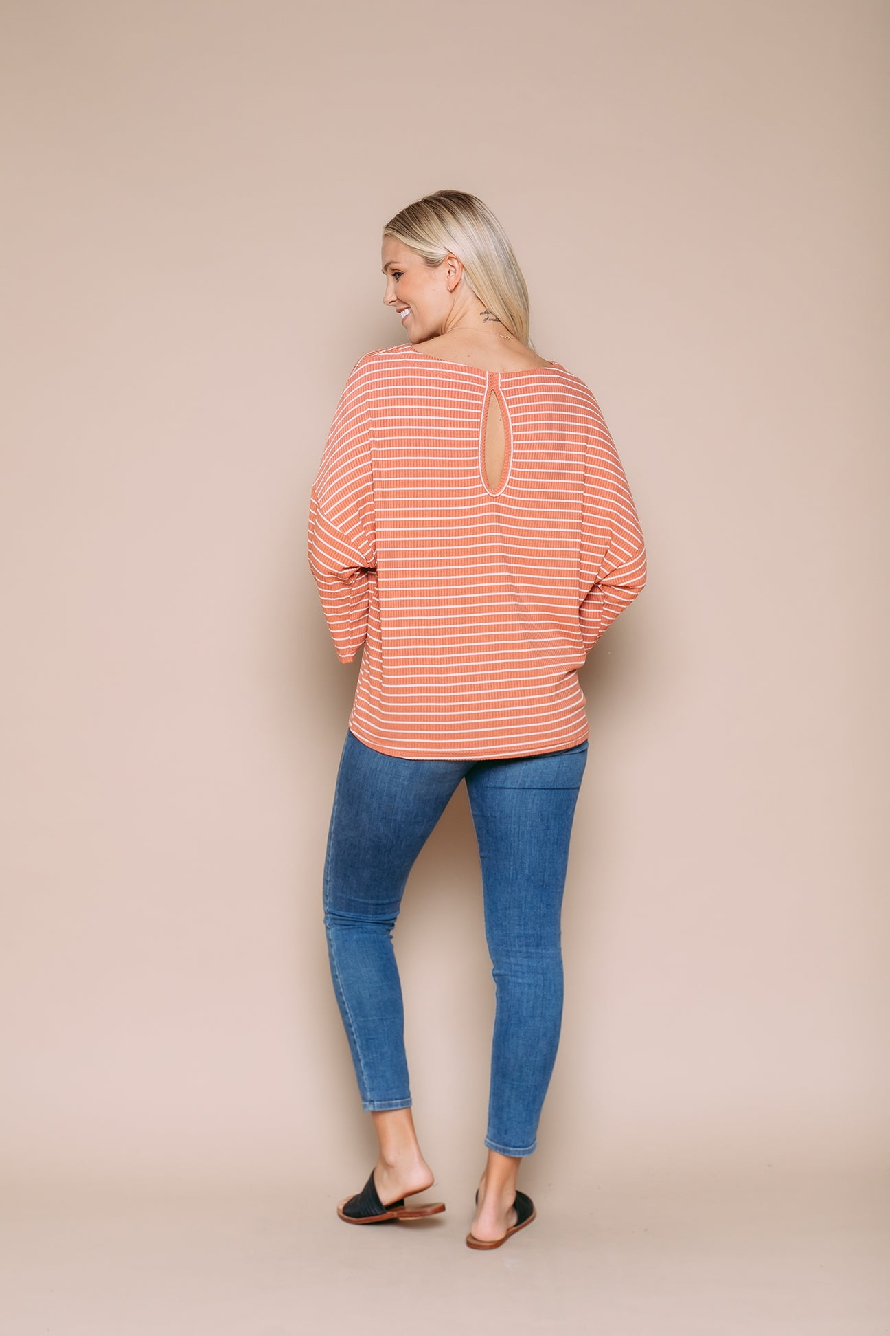 Poppy - Drapy Rib Tee With Keyhole Back Desert Clay Stripe