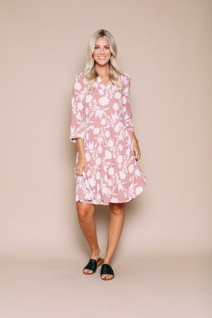 Taylor - Tiered Woven Summer Dress With Split Neck Detail Shadow Floral