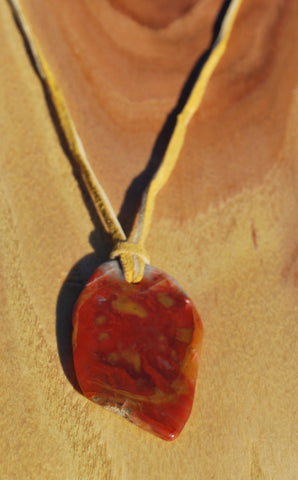 Agate Pendant On Leather