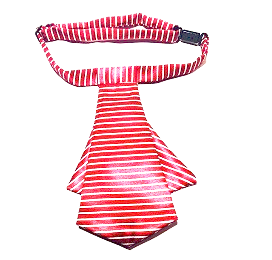 Red tie with white strips