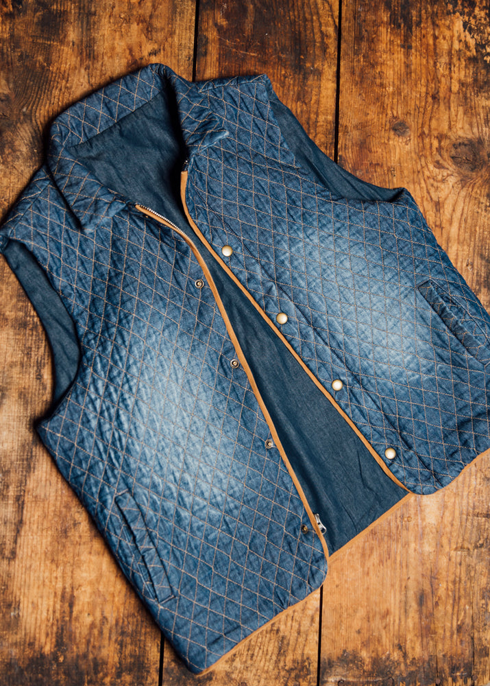 LOVE COLLECTION DENIM QUILTED VEST