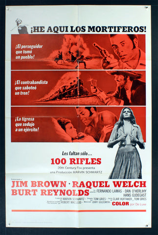 100 Rifles Spanish Language (1969) US One Sheet Movie Poster