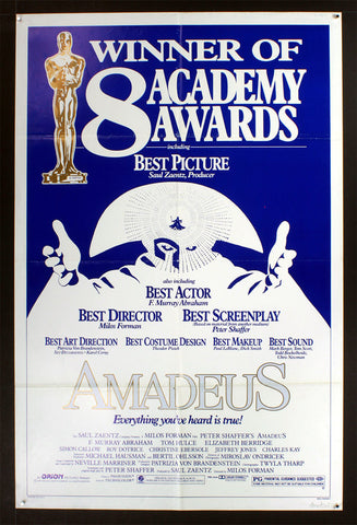 Amadeus (1984) Awards US One Sheet