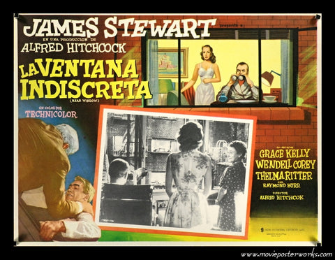 Rear Window (1954) Mexican Lobby Card (Looking out the window!)