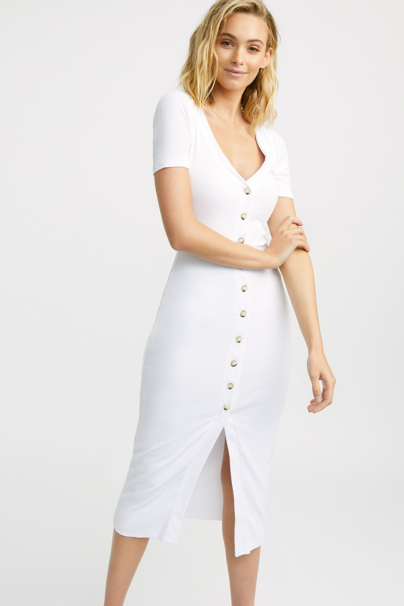 Beccy Button Midi Dress
