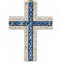 Blue Sapphire Color CZ and White CZ Cross Pendant