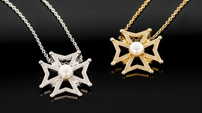 Maltese Cross with Cultured Pearl