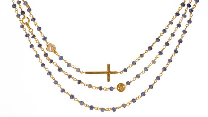 "40"" Faceted beaded station Cross in onyx/Sterling or Lapis/14k gold clad"