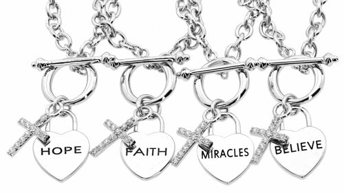 Silver Signature Hope Faith Miracles Believe Toggle Bracelet
