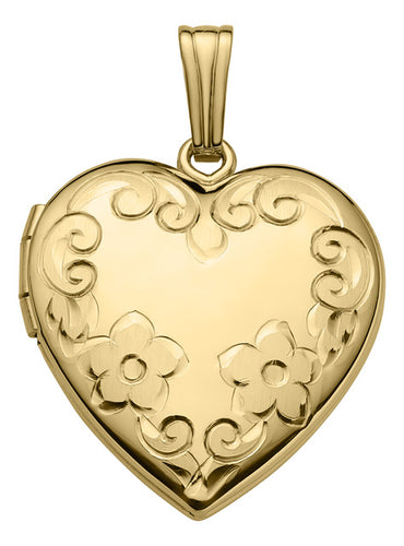 "20 mm 14K Yellow Gold ""Hand Engraved"" Heart Locket (2 week order to ship)"