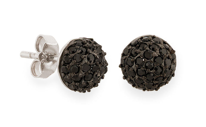 Black Rhodium Pave Stud Earrings