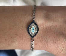 Double Strand Evil Eye Bracelet in Sterling Silver(Final Sale)