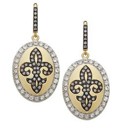 Fleur de lis Diamond and White Topaz Earrings