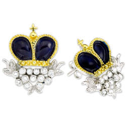 Blue Enamel Crown Earrings (Final Sale)