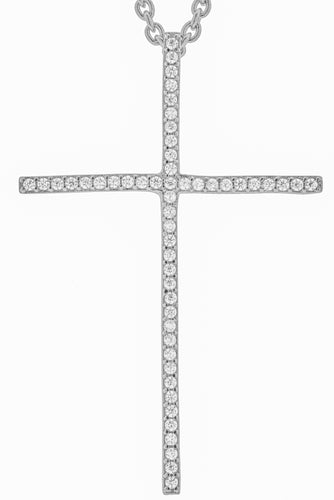 Micro Pave Stick Cross Pendant
