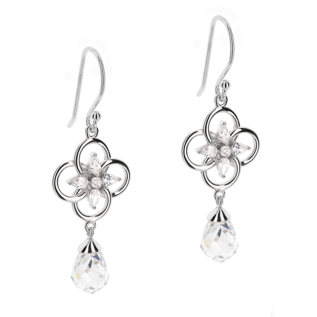 Concentric Circle Earrings with Round and Pear shaped Stones and Faceted Stone Drop