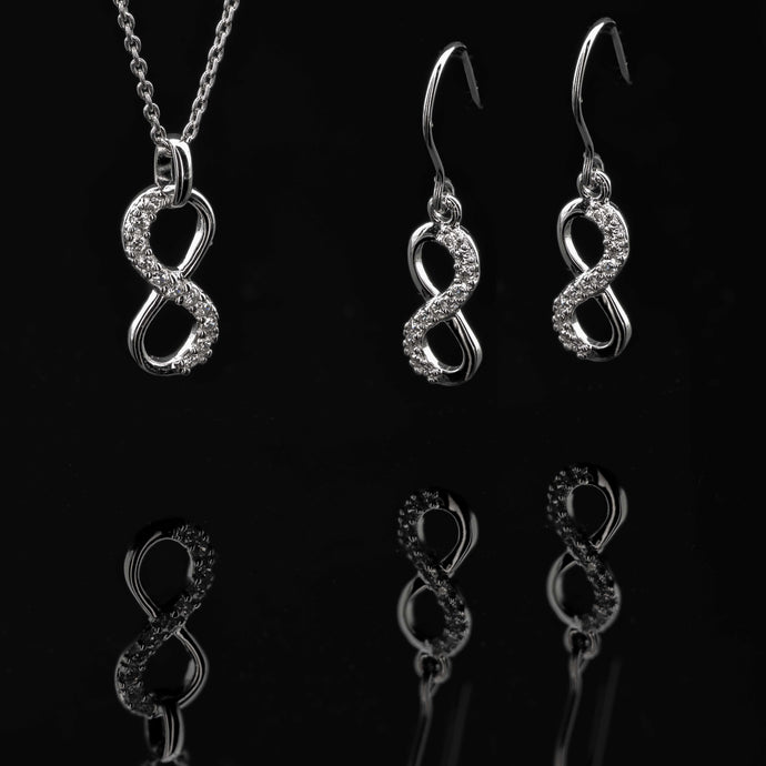 Eternity Sterling Silver CZ Pendant and Earring Set