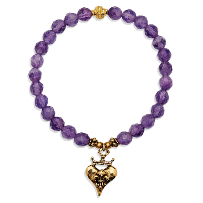 Faceted Amethyst Fleur De Lis Heart Bracelet(Final Sale)