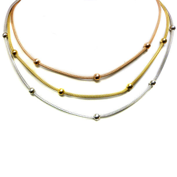 Tri Color Triple Strand Necklace