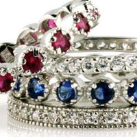 Stacker Rings Gem Stone -Silver