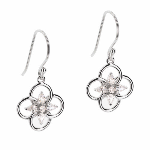 Concentric Circles Earrings with Pear and Round Shaped Stones
