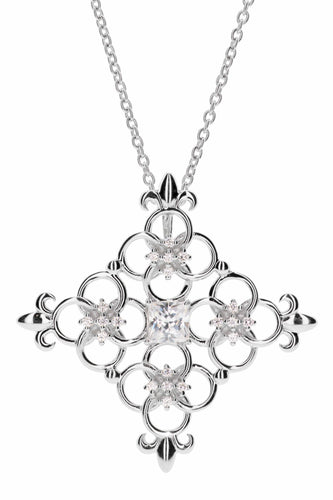 Concentric Circles Geometric Square with Stones and Fleur de Lis' Pendant