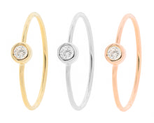 """Orbits"" Tri Color Bezel set round stacker rings (sold as set) pre-order early April 2021"