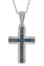 Three Row Cross (Revised 2020)Blue Synthetic Sapphire or Black CZ and White CZ (side accent) Cross Pendant, Also in all White (all Ship early September 2020)
