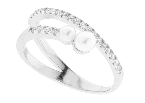Double Pearl By-Pass Ring