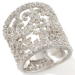 Fleur de lis Sterling Silver Band Ring