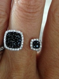 Sterling Silver Black Spinel and CZ By Pass Ring