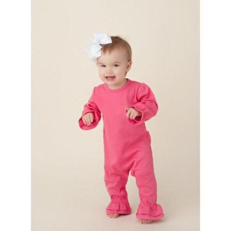 Girl's Hot Pink Long Sleeve Ruffle Romper