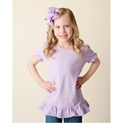 Girl's Light Lilac Short Sleeve Ruffle Shirt