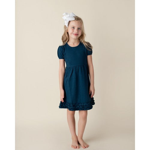 Girl's Navy Short Sleeve Ruffle Empire Waist Dress