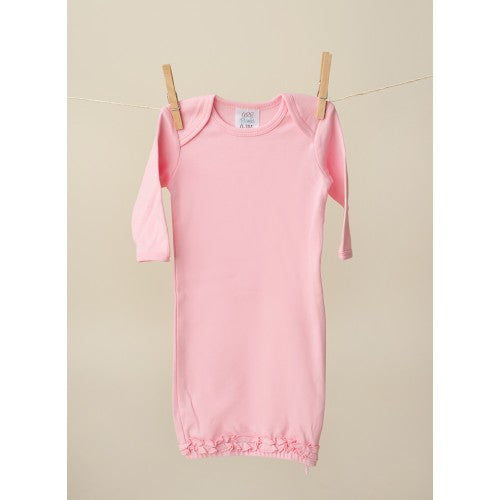 Bubble Gum Pink Long Sleeve Ruffle Baby Gown