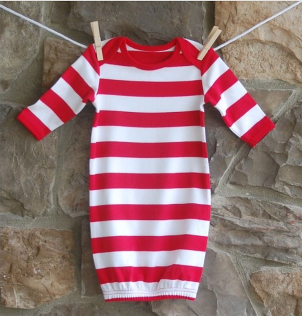Red and White Striped Baby Gown