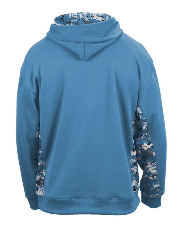 Embroidered Adult Digital Camo Colorblock Performance Fleece Hooded Sweatshirt
