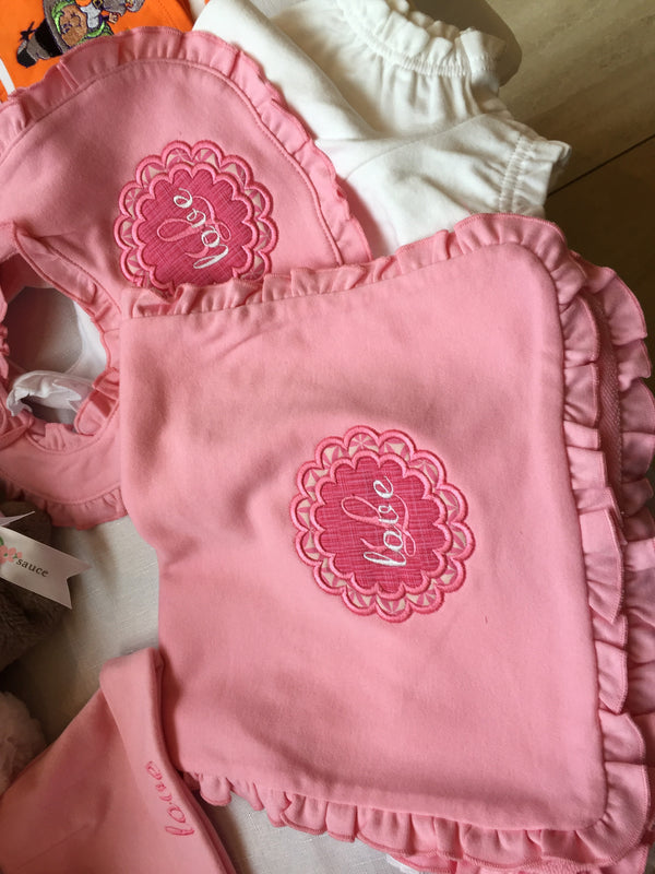 Pink Personalized Burp Cloth