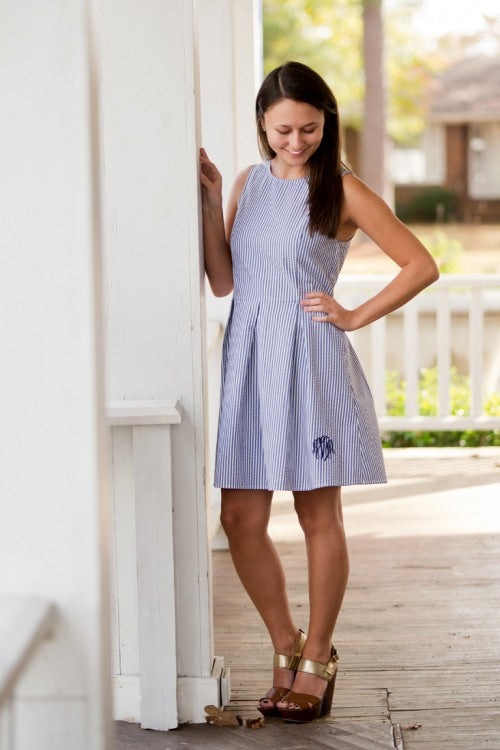 Navy Seersucker Dress